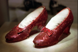CORRECTS TO U.S. DOLLARS, NOT CANADIAN DOLLARS - FILE - This April 10, 1996 file photo shows one of the four pairs of ruby slippers worn by Judy Garland in the 1939 film